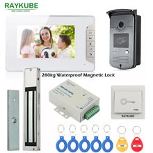 RAYKUBE Wired Video Intercom Door Phone With 280kg Waterproof Magnetic Lock 7 Inch LCD Monitor RFID Reader & Camera Full Kit raykube z l bracket for 280kg electric magnetic lock install high strength aluminum alloy r 280zl