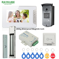 RAYKUBE Wired Video Intercom Door Phone With 280kg Waterproof Magnetic Lock 7 Inch LCD Monitor RFID