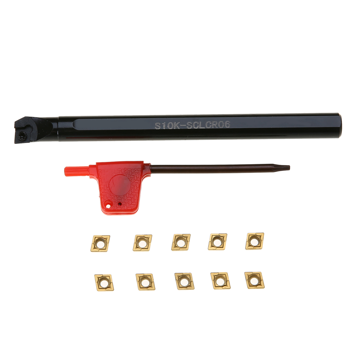 1pc S10K-SCLCR06 Boring Bar Tool Holder + 10pcs CCMT060204-HM Carbide Inserts + Wrench For Lathe Turning Tool
