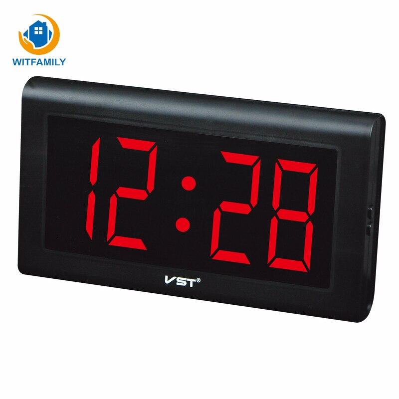 Horloge de Table en plastique moderne horloge de mur LED numérique chiffres lumineux grand affichage horloges numériques avec prise horloge lumineuse