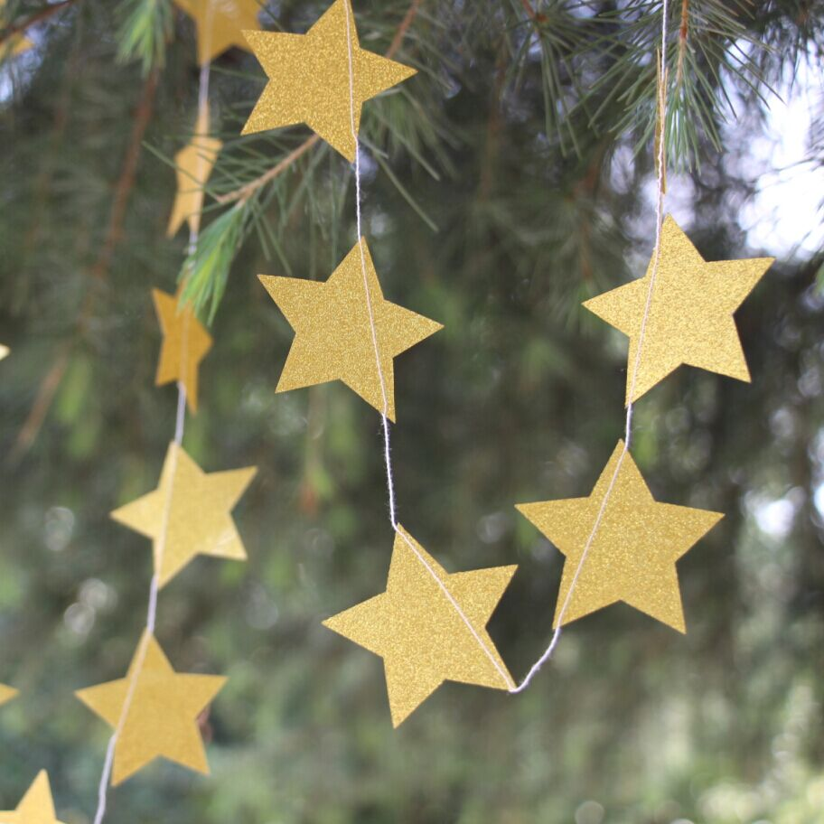 Gold star ornaments - Gold Glitter Star 5 Ft Paper Garland Birthday Baby Shower Party Decorations Christmas Happy New Year