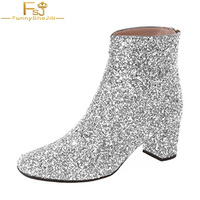 FSJ Fashion Glitter Low Block Heel Ankle Boots Sequins Cloth Round Toe Dress Booties Round Toe Shoes Zips Woman Shoes Size 13