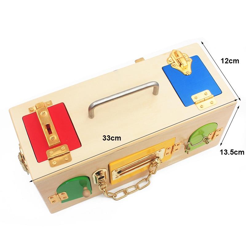 Купить с кэшбэком High Quality Montessori Materials Lock Set Lock and Key Tool sets 9 Locks Latch Unlock Box Set Tools Toys Early Educational Gift