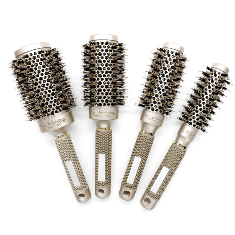 Ceramic Aluminium Hair Comb Ionic Round Hair Brush With Boar Bristle Hair Professiona Hairdressing Brush For Barber Styling Comb