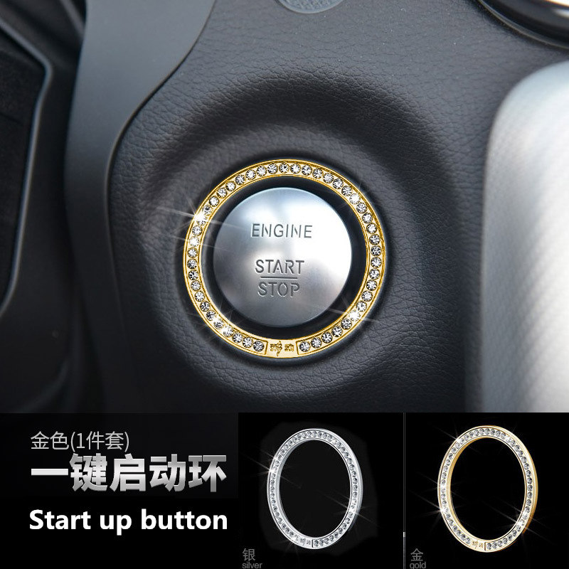 Car Ignition Engine Starter Stop Button Stickers For Mercedes BENZ glc ml glk cls e c Class Ignition Key Decorative Stickers
