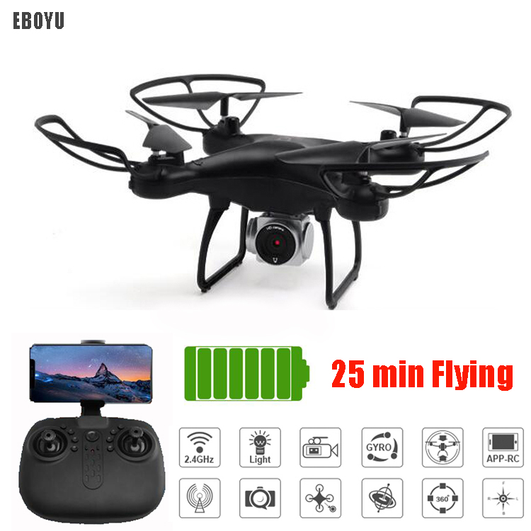 EBOYU L22 RC Drone 25min Flying time w/ 720P Wide Angle Wifi FPV HD Camera Altitude Hold Headless Mode RC Quadcopter Drone RTFEBOYU L22 RC Drone 25min Flying time w/ 720P Wide Angle Wifi FPV HD Camera Altitude Hold Headless Mode RC Quadcopter Drone RTF