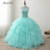 modabelle Puffy Organza Mint Green Quinceanera Dress Ball Gown With Beading Pearls Halter Backless Princess Dress Debutante Gown
