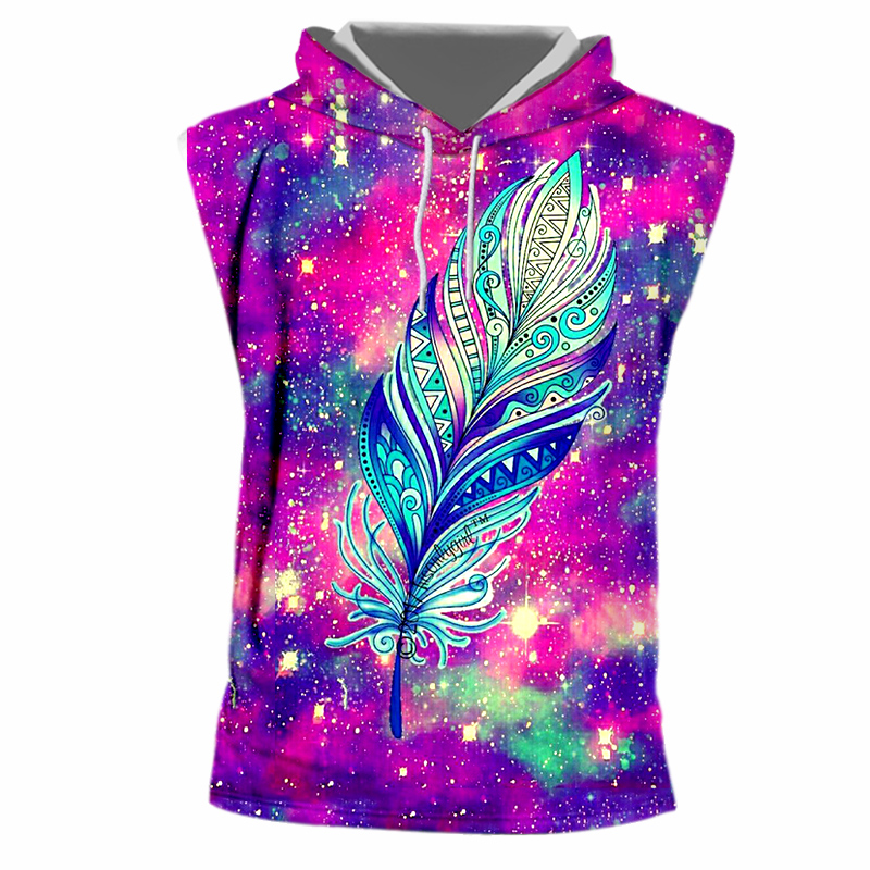 UJWI Funny Print Feather Star 3D T shirts Men Summer Fashion Sleeveless Hooded Tshirt Homme Crewneck Drawsting Hooded Hoody 7XL in T Shirts from Men 39 s Clothing