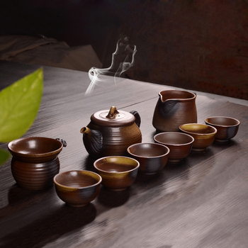 antique style crude pottery tea set Chinese kungfu tea sets ceramic tea pot with infuser pitcher tea cups in China