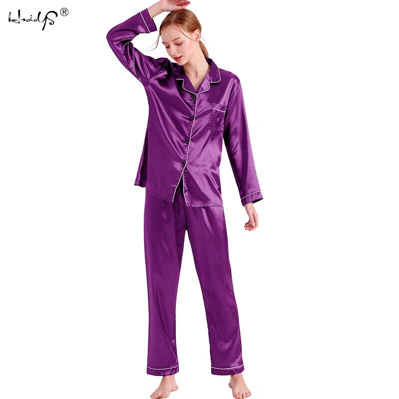 8bf2350104616 Женские шелковые пижамы пижамный комплект с длинным рукавом пижамы Pijama  костюм женский сна комплект из двух предметов Loungewear плюс размеры