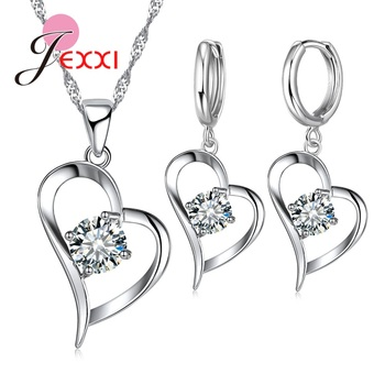 925 Sterling Silver Wedding Jewelry Sets Romantic for Women Love Heart Hollow Pendants Necklaces Earrings For Wedding