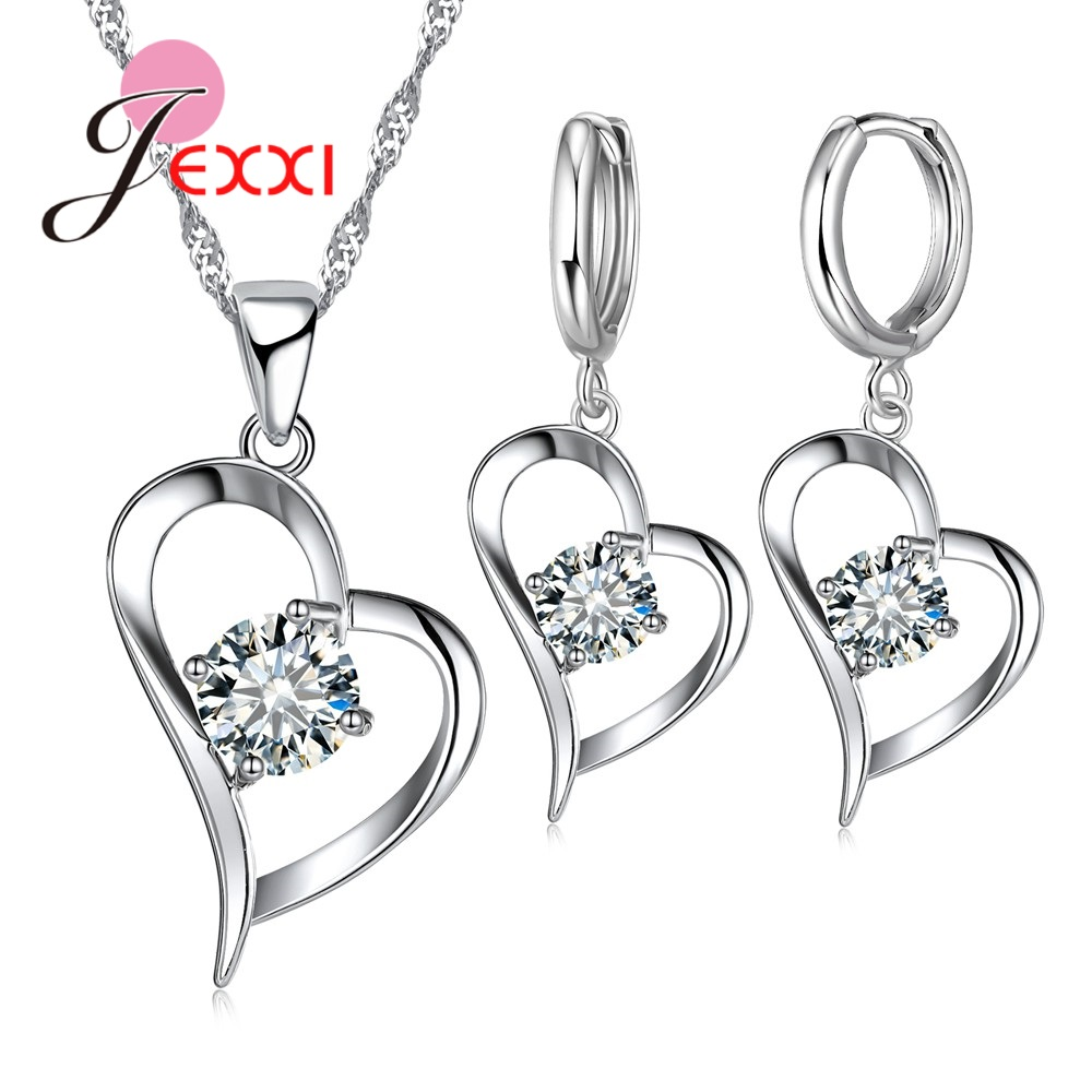 Giemi Top Quality 925 Silver Wedding Jewelry Sets Romantic For Women Love Heart Hollow Pendants Necklaces Earrings For Wedding