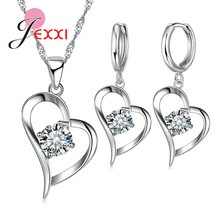 Top Quality 925 Sterling Silver Wedding Jewelry Sets Romantic for Women Love Heart Hollow Pendants Necklaces Earrings For Wedding(China)