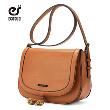 ECOSUSI New Fashion Women Messenger Bags High Quality PU Leather Crossbody Bag With Tassel Female Saddle