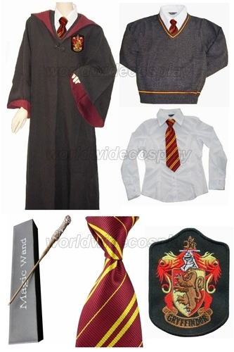 Gryffindor Cosplay Robe Cloak Pullover Sweater Set Harry Glowing Magic Wand Custom Made Free Shipping for Halloween andChristmas
