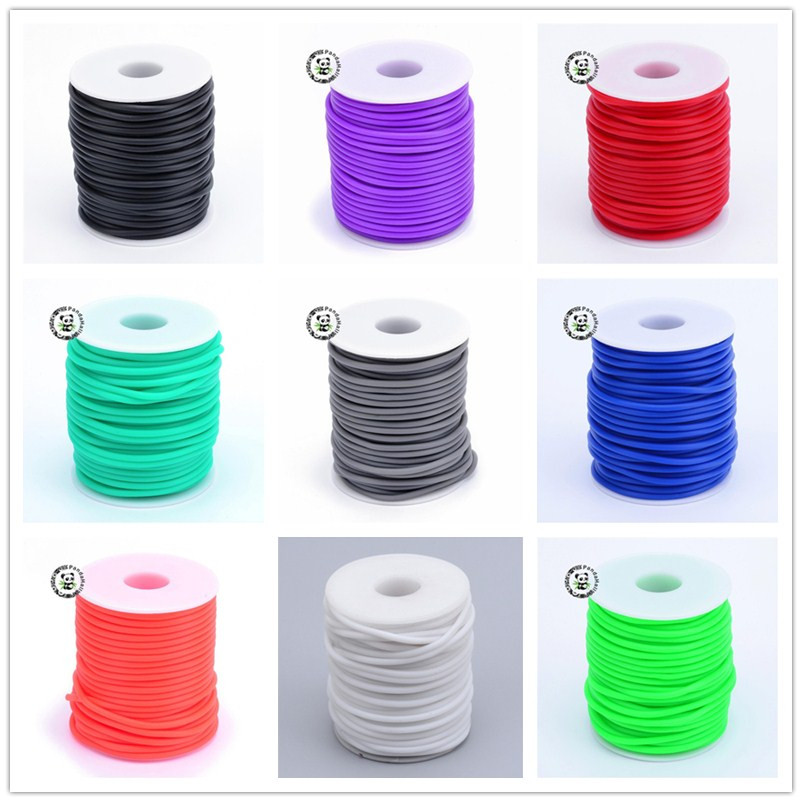 Pandahall Hollow Pipe PVC Tubular Rubber Cord 15 Colors For Jewelry Making Wrapped Around White Plastic Spool, 2mm, Hole: 1mm
