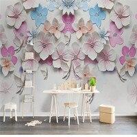 Custom 3D Photo, Peach Blossom Stereo Relief, Pink Romantic Rose Wallpaper, Dining Room Sofa TV Wall Bedroom 3D Photo Wallpaper