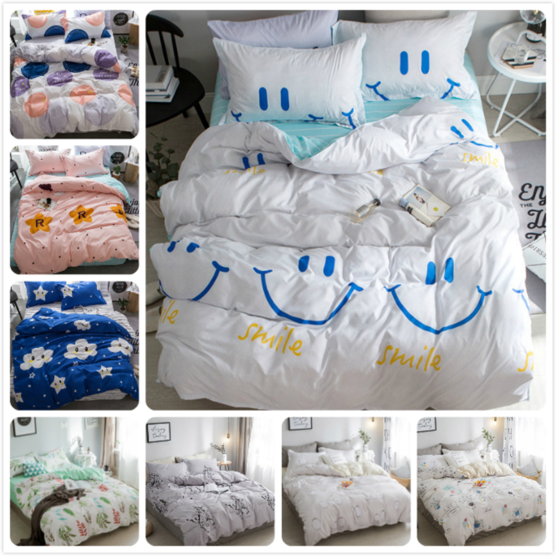 Smiling Face Pattern Kids Soft Cotton Bedding Set 3pcs/4pcs Bed Linen Single Twin Full Queen King Size Duvet Cover 1.35/1.5/1.8m