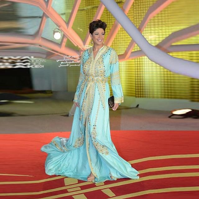 6952ee39b9 US $399.0 |Stylish Luxury Crystal Diamond Dubai Kaftan Dress Long Sleeve  Light Blue Formal Evening Dresses Saudi Arabic Style Evening Gown-in  Evening ...