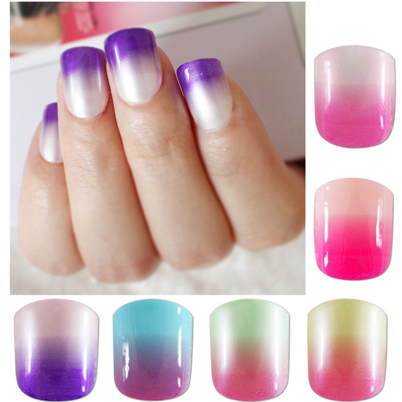 Pearl Shine Gradient False Nail Tips French Nails Colorful Acrylic ...
