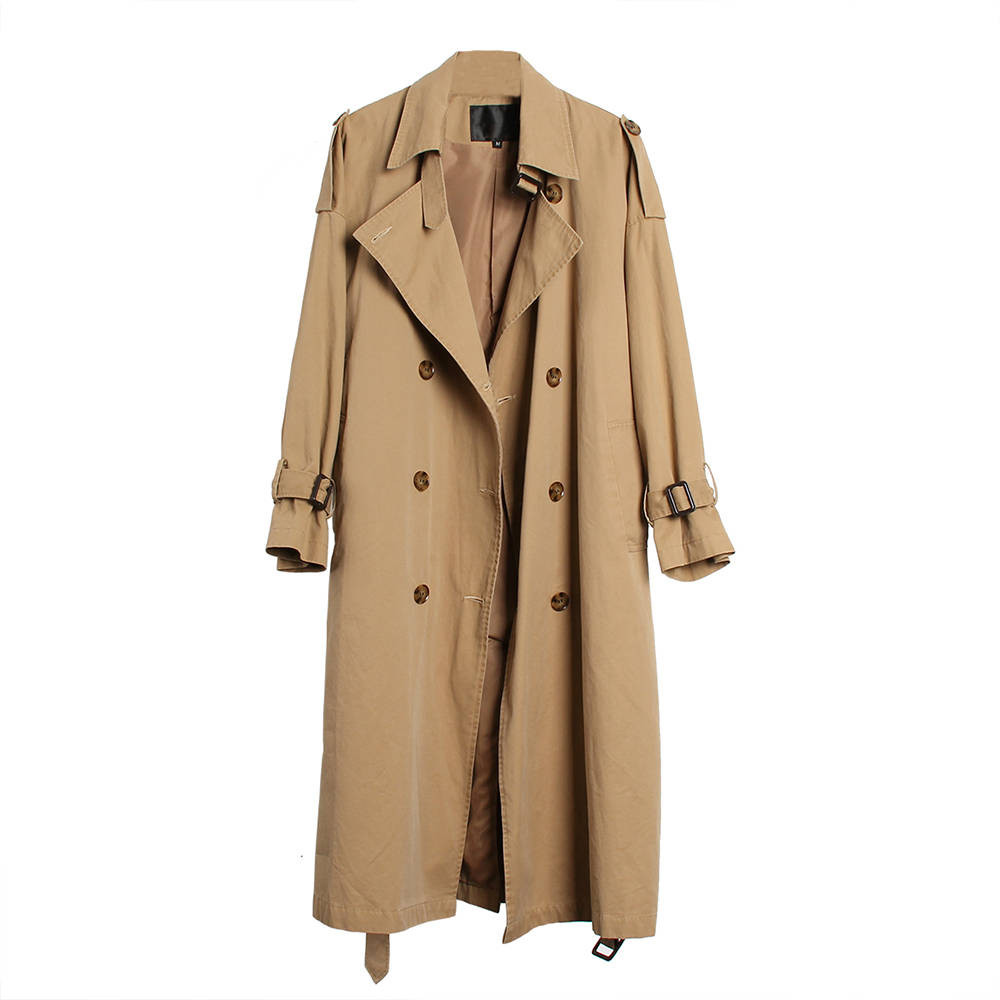 Women Casual   trench   coat oversize Double Breasted Vintage Outwear Loose Autumn 2018 Woman Clothing