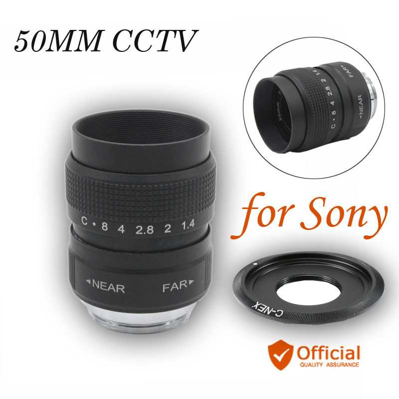 50mm CCTV lenses F1.4 TV Movie lens + C Mount for Sony E Mount NEX-6 NEX-5R NEX-F3 NEX-7 A6000 A5000 5100 A3000 CCTV lens цены онлайн