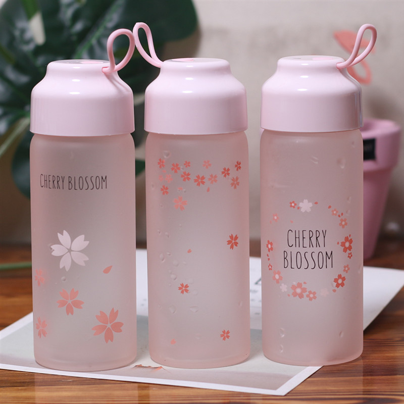 350ml Cute Temperature-changing Glass Water Bottle INS Female Portable Hand-carrying Cup