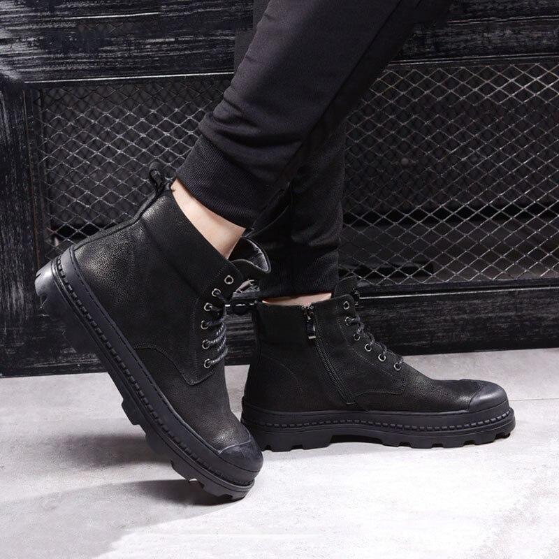 Outono Top Do Black Velvet Real Britânico preto Sapatos Homens Botas Dos De Deserto Montaria Cowboy Genuína Couro Alta Qualidade pvxnqwEfI