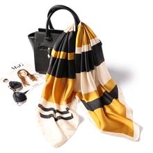 Women Square Silk Scarf Fashion Foulard Neck Scarfs for Lady Striped Print Neckerchief Skinny Hair Scarves Female Shawl