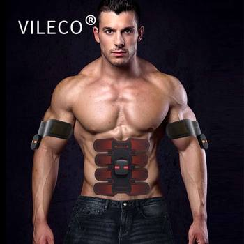 VILECO 8Pcs EMS Abdomen Massage Patch Muscle Fitness Weight Loss ABS Patch Trainer For Arm/Leg Relaxation Electro Stimulation