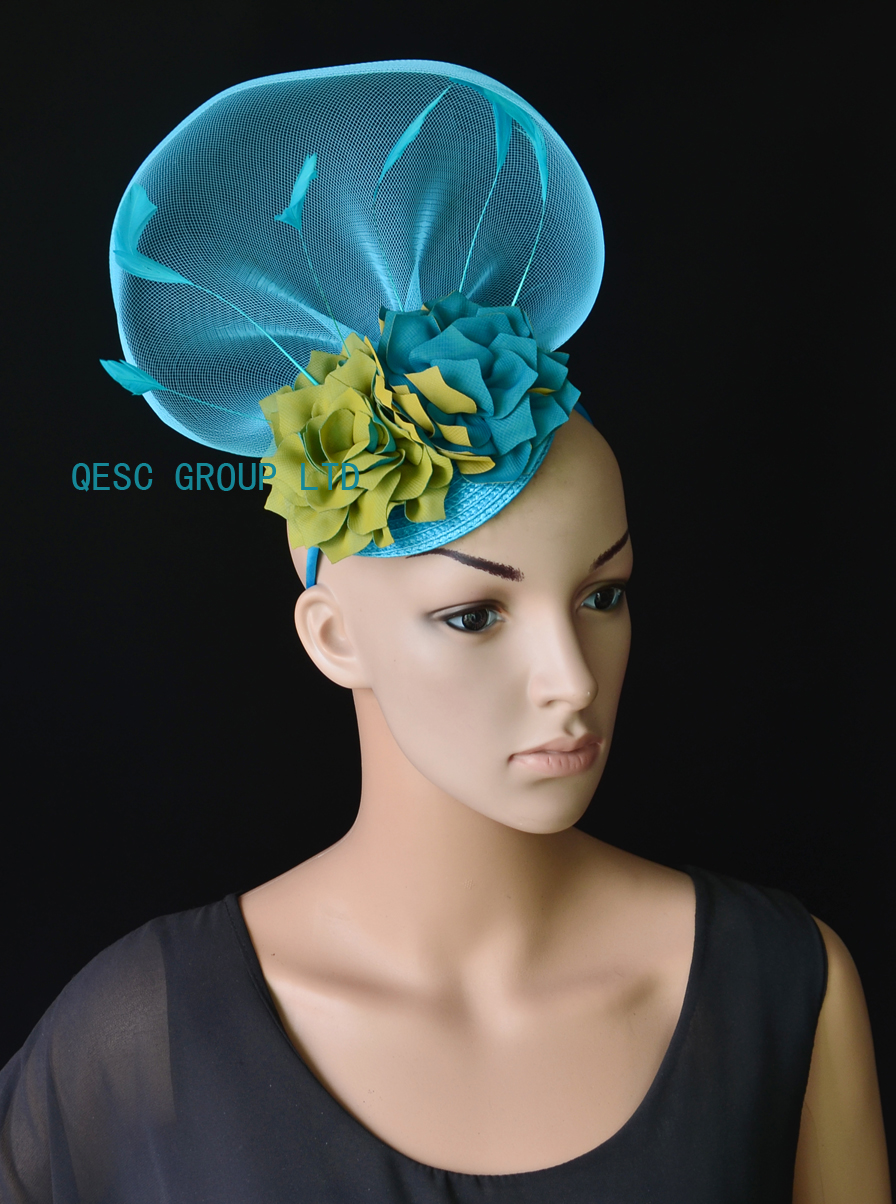 NEW Blue green crin fascinator kentucky derby hat with feathers handmade  flower for wedding race .-in Fedoras from Apparel Accessories on  Aliexpress.com ... 91b433cd83b