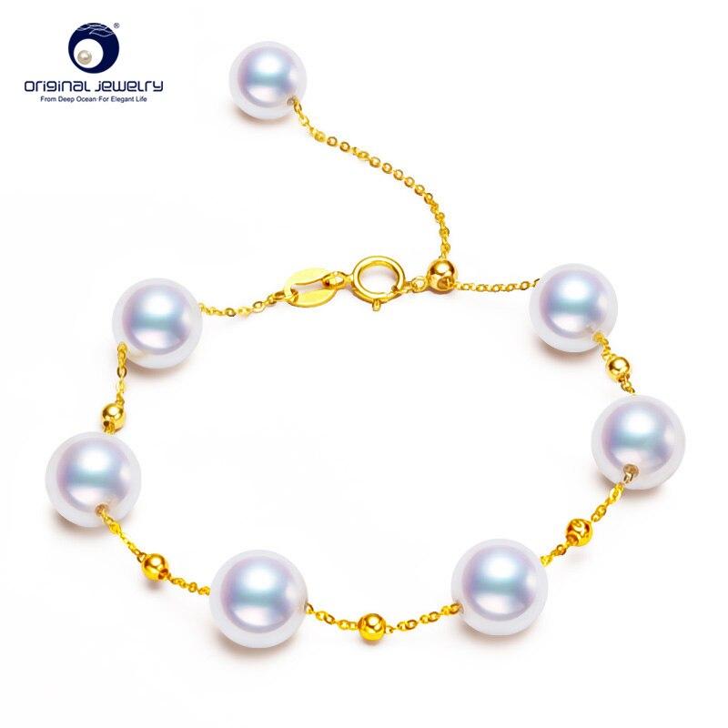 [YS] 7-8mm White Akoya Pearl 18K Gold Bracelet цены онлайн