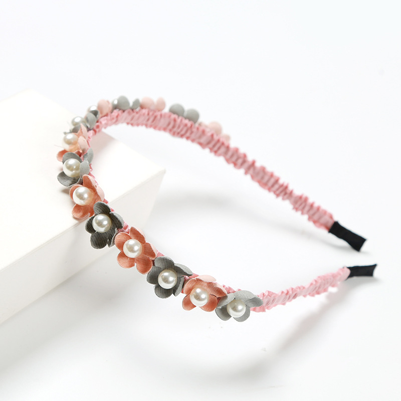 Sale Korean Cloth Crystal Beads Hairband For Girls Sweet Handmade Flower Headband Popular Rhinestones Hair Accessories