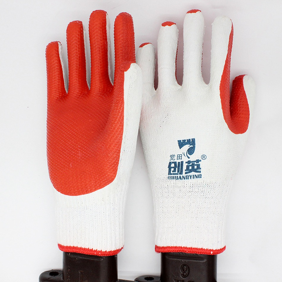 1 Paar Arbeits Handschuhe Männer Frauen Film Handschuhe Echtem Gummierte Patch Handschuhe Schutz Handschuhe Tragen-beständig Anti-pressur