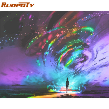 RUOPOTY Frame DIY Painting By Numbers Abstract Light Landscape Modern Paint By Numbers Wall Art Picture Coloring By Numbers Arts