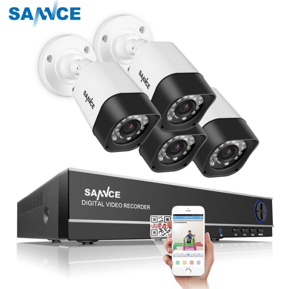 SANNCE 4CH caméra de sécurité Système Home Video Kit de surveillance 1080 P sortie hdmi DVR 720 P CCTV DVR Kit 720 P 4 pièces 1.0MP Caméra