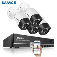 SANNCE 4CH Security Camera System Home Video Surveillance Kit 1080P HDMI Output DVR 720P CCTV DVR Kit 720P 4PCS 1.0MP Camera