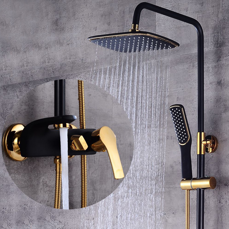 Bathroom Shower Set Luxury Black/White Golden Bath Lifting Shower Faucet Tap Bathroom Cold and Hot Mixer Shower Tap Bathtub Set