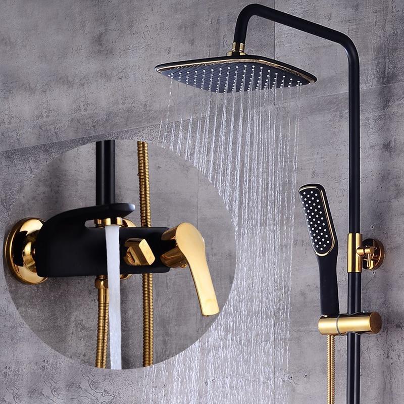 Łazienka z prysznicem zestaw luksusowy czarny/biały złoty wanna podnoszenia prysznic kran z kranu łazienka ciepłej i zimnej mikser prysznic kran wanna zestaw w Baterie prysznicowe od Majsterkowanie na AliExpress - 11.11_Double 11Singles' Day 1
