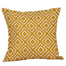 Cushion Cover yellow pillow cover decorative pillows Throw PillowCase Geometric Autumn Cotton Linen Decorative maison F731(China)