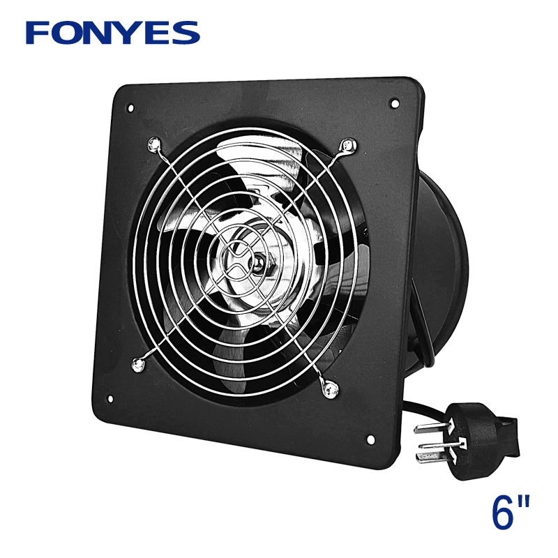 вентилятор металлический настенный - 6 inch axial wall fan ventilation high speed ventilator for kitchen metal air extractor exhaust fan air vent industrial fan 220V
