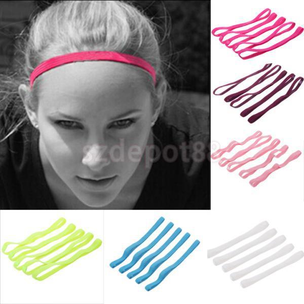 5pcs Women Girl Anti-slip Stretch Hairband Headband Sport Yoga Gym Hair Band 81c0c9c1445