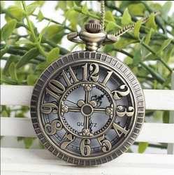 Винтаж бронза античная арабскими цифрами выдалбливают мужчины и женщины кварцевые Цепочки и ожерелья карманные часы подарок