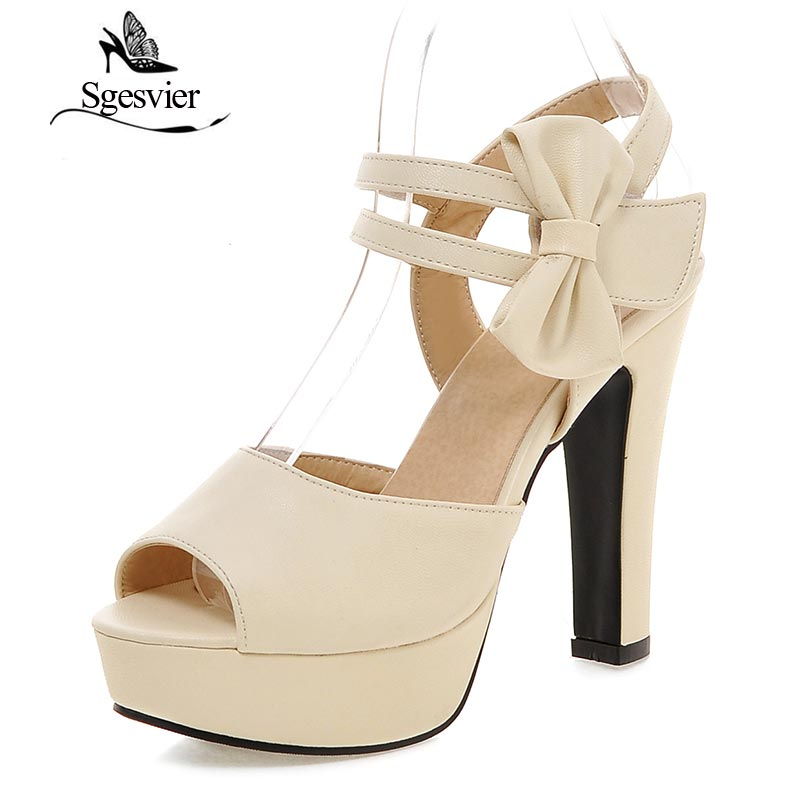 SGESVIER Women Sandals 2017 Summer New Sweet Party Elegant Peep Toe Butterfly-knot Platform High Heel Lady Shoes For Woman OX077 new arrival lady fashion high heel shoes pointed toe dress shoes elegant flower closed toe party summer evening sandals c131