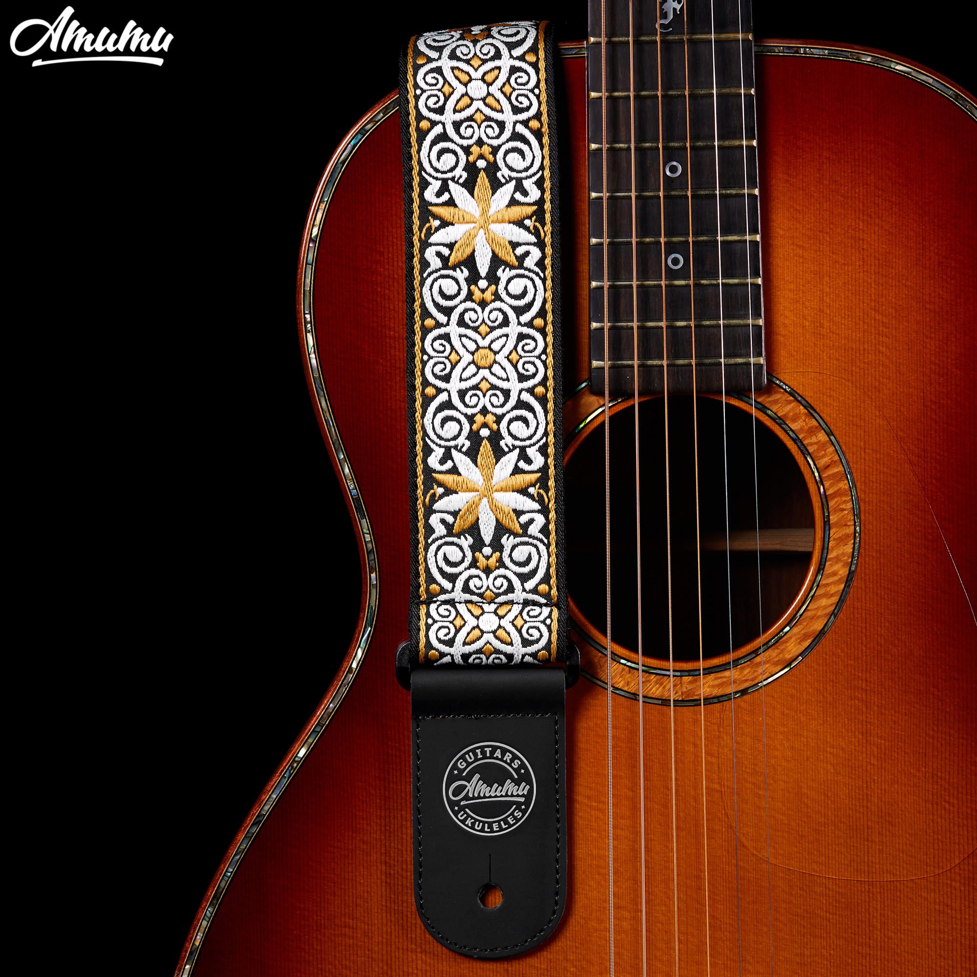 Amumu Woodstock jacquard Cotton Guitar Straps with Leather End for Folk Acoustic Electric Guitar 89-156cm Length 5cm Width S110 acoustic electric guitar strap woven cloth leather end police line do not cross width 5cm 2 length 92 154cm 36 60 yellow black
