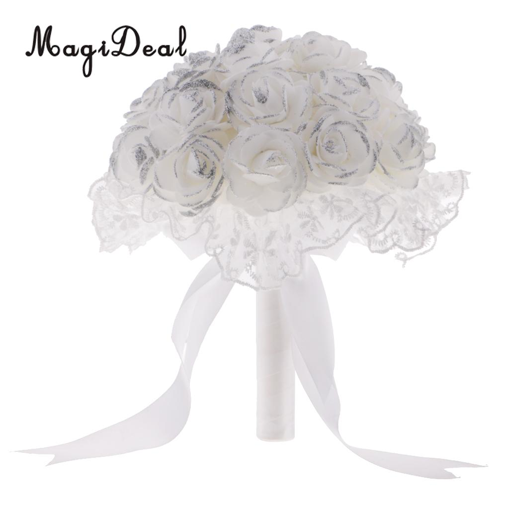 Artificial Rose Bouquet Holder Wedding Bridal Bridesmaid ...