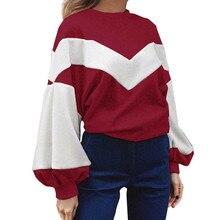 KANCOOLD Sweatshirts Ladies Comfort Long Lantern Sleeve Velvet geometric Streetwear O-Neck full hoodies big size dec1