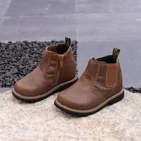 2017 otoño niño niña negro botines niño botines de marca niños moda cuero marrón Zapatos