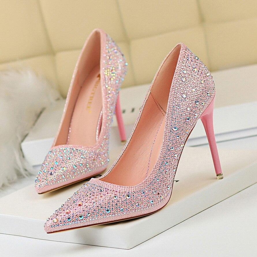 Banquet Chaussures Pompes Mince Ds 22 gris pink Strass 2019 Poadisfoo Printemps 9219 Haute argent Partie De Cristal Mariage Femmes or blanc Noir Diamant Talon 84Xvq