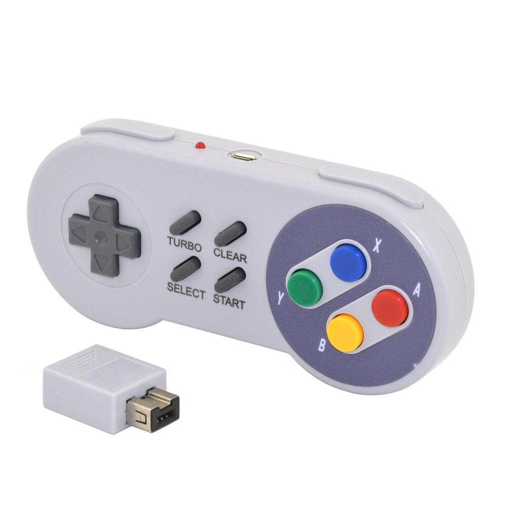 Xunbeifang 10 pièces Sans Fil Bouton Style Contrôleur Gamepad pour SNES mini console avec turbo et clair fonction